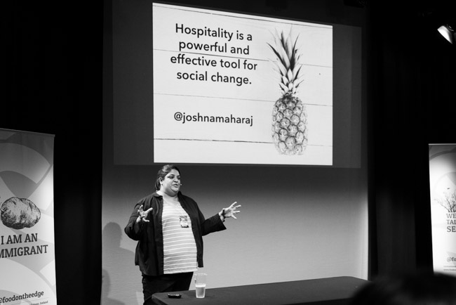 Joshna Maharaj from Take Back the Tray speaking at Food On The Edge - Photography by Clare Yazbeck