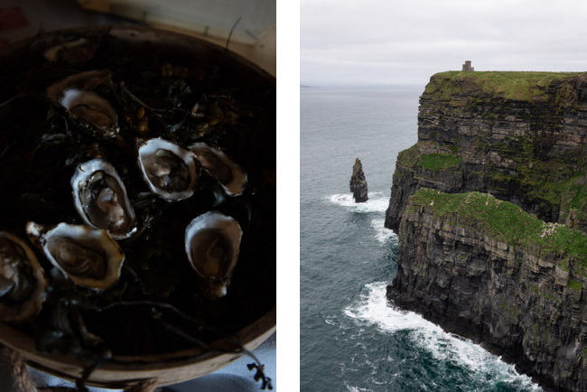 Flaggy Shore Oysters and the Cliffs of Moher in Co. Clare, photographed by Clare Yazback.